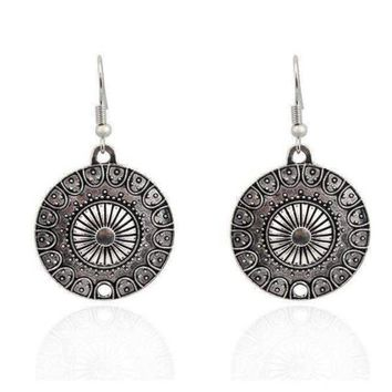Round Roman Stamped Medallion Silver Hook Earrings