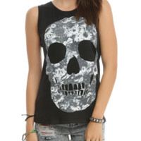 Flower Skull Muscle Girls Top