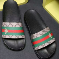 GUCCI 2018 men and women trend fashion quality sandals slippers F