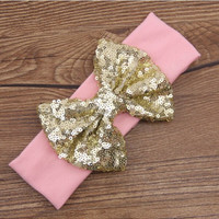 """Light Pink Headband With 5"""" Gold Sequin Big Bow Boutique Toddler Infant Girls Kids Hair Accessory"""