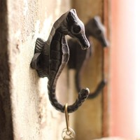 Cast Iron Seahorse Hook (Set of 2)