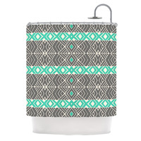 "Pom Graphic Design ""Going Tribal"" Gray Green Shower Curtain"