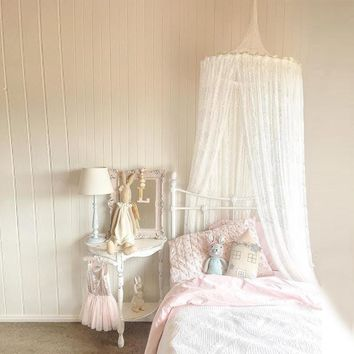 New Nordic White Lace Baby Girls Princess Dome Canopy Bed Curtains Round Kids Play Tent Room Decoration Bed Hanging Crib Netting