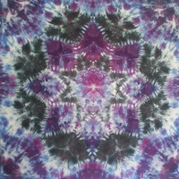Psychedelic Mandala tie dye tapestry in purple, black and blue wall hanging