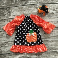 Halloween new Fall winter Full long dress girls orange polka dot pumpkin baby kids wear clothes with matching bow set