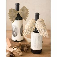Set Of 2 Angel Wing Wine Bottle Rings