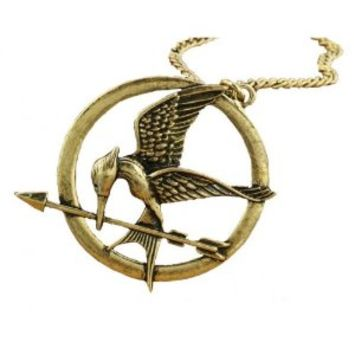 """Treena Bean """"Mockingjay"""" Antique Brass Colored Pendant Necklace Inspired by The Hunger Games with 30"""" Chain Necklace Fashion Necklace"""