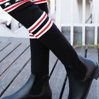 New Black Square Toe Chunky Print Fashion Over-The-Knee Boots
