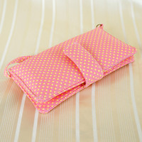 IPHONE WALLET CASE Light Pink Polka dot Fabric Card Holder iPhone Case Phone Sleeve Pouch for iPhone 4 4s 5 5s 5c Samsung S3 S4 Note 1 2 3