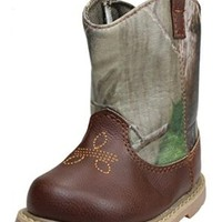 Green Realtree Camoflauge Infant and Toddler Boys Cowboy Western Boots by Baby Deer