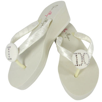 2 inch Ivory Low or High Wedge Swarovski Rhinestone I DO Wedding Flip Flops