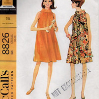 McCall's 60s Sewing Pattern Loose Fit Tent Dress Sleeveless High Band Collar Flared Party Mini Dress Bust 32