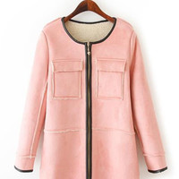 Long Sleeve Midi Zipper Coat With Pocket