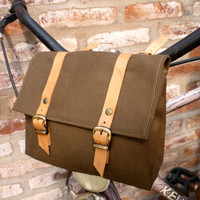 Leather and Canvas Bicycle Bag/ Lunchbox bike Bag
