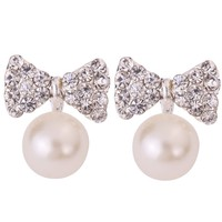 Yazilind Jewelry Pretty Bowknot Carve Full Sparkling Crystal Silver Plated Faux Pearl Mini Stud Earrings