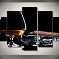 Cigar And Drink 5-Piece Wall Art Canvas