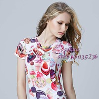 2016 Women's Ice Cream Printed t shirt Short Sleeve Summer  tshirt t-shirt women tops clothing woman clothes plus size tees