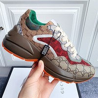 Gucci Fashion Women Men Contrast Rainbow Dad shoe Snewsskers Colorful Shoes Khaki green red