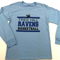 One Tree Hill Ravens Basketball Light Blue Long Sleeve Tee - Fan tee, novelty tee,