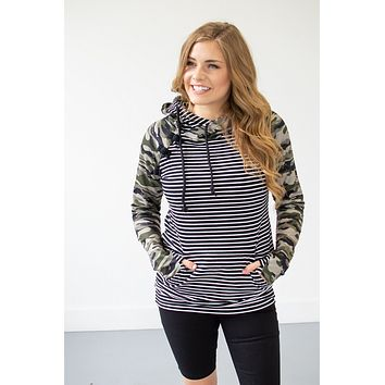 Camo and Stripes Hoodie   Nursing Option Available