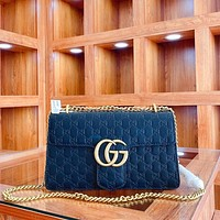 GUCCI embossed double G chain bag shoulder bag