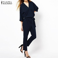 Fashion Women Jumpsuits Spring Autumn Solid Color Bodysuit Half Sleeve V Neck Casual Style Elegant Ladies Long Romper Overalls