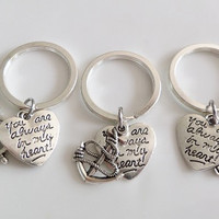 "Set of 3 Keychains, Anchor, Rudder, Compass and ""you're always in my heart"" charms. Best Friends keychains, sisters brothers Gift,"