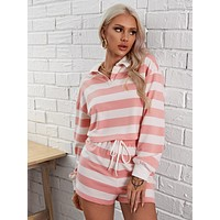 SHEIN Two Tone Striped Pullover and Track Shorts Set