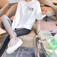 """Dior"" Women Casual All-match Letter Solid Color Round Neck Loose Long Sleeve Sweatshirt"