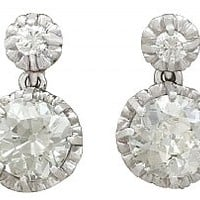 3.74ct Diamond and Platinum Drop Earrings - Antique Circa 1900 and 1930