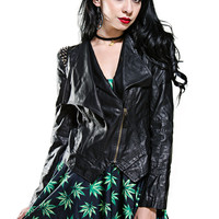 Black Studded Vegan Leather Moto Jacket