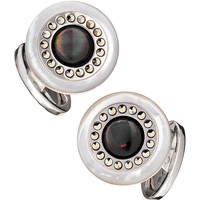 Men's Round Mother-of-Pearl Cuff Links - Jan Leslie