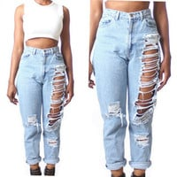 Light Blue Cut-off Fringe Denim Pants