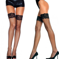 Sexy Women's Hot Fishnet Thigh High Stockings Lace Long Socks