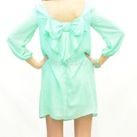 Mint Bow Back Pretty Teal Drape Dress