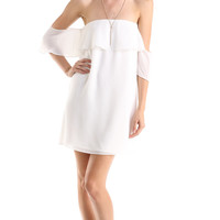 OFF THE SHOULDER RUFFLED DRESS - WHITE