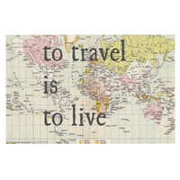"Catherine Holcombe ""To Travel Is To Live"" Color Map Decorative Door Mat"