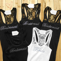 5 Bridesmaid Tank Top. Bride, Bridesmaid, Maid of Honor, Matron of Honor, Bachelorette, Bridal Entourage, The Mrs. Bridal Party Lace Tank.