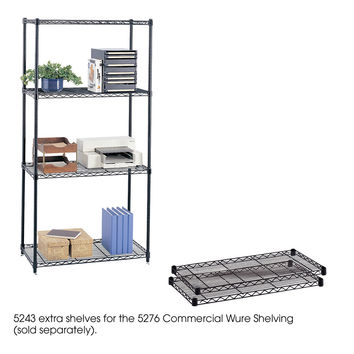 Safco 18 x 36 Office Industrial Garage Commercial Extra Wire Shelves For Storage Unit 2 pack Black