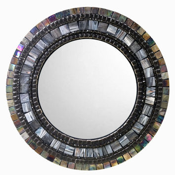 Mosaic Mirror, Gray and Brown, Round Wall Mirror