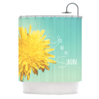 """Beth Engel """"You Are My Sunshine"""" Teal Flower Shower Curtain"""