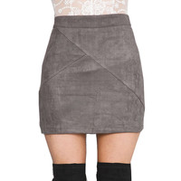 GS126 Womens Vintage 80`s Retro High Waist Pachtwork Suede Skirt Thick Warm Winter Autmn Mini Pencil Skirts