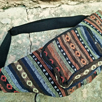 Fanny pack festival bum bag Boho Ethnic tribal pattern fabric belt belly Pouch Travel phanny waist Ikat Hippies Bohemian stripes in brown