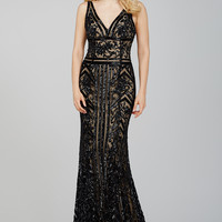 Jovani 33007 In Stock Sequined Black/Nude Size 10 Evening Gown Prom Dress