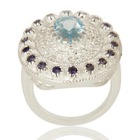 Designer Iolite And Blue Topaz Sterling Silver Cocktail Ring With White Topaz