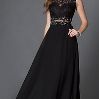 Mock Two Piece Floor Length Prom Dress with Lace Bodice