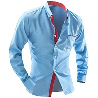 Men'S Fashion Men Shirt Fashion Wave Point Slim Square Collar Long-Sleeved Shirt Single-Breasted Shirt