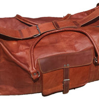 Vintage Brown Mens Leather Travel Duffle Duffel Briefcase Overnight Bag Luggage Suitcase Vtg