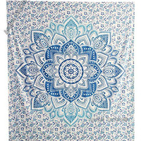 """Amitus Exports ® 1 X Flower Star Ombre 90""""x80"""" Approx. Inches Sky Blue Color Queen Size Cotton Fabric Multi-Purpose Handmade Tapestry Hippy Indian Mandala Throws Bohemian Tapestries"""