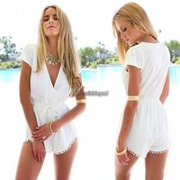Fashion Sexy Women Deep V Neck Short Sleeve Chiffon Rompers Jumpsuit Short Pants